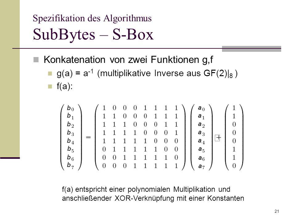 21 Spezifikation des Algorithmus SubBytes – S-Box Konkatenation von zwei Funktionen g,f g(a) = a -1 (multiplikative Inverse aus GF(2)| 8 ) f(a): f(a)