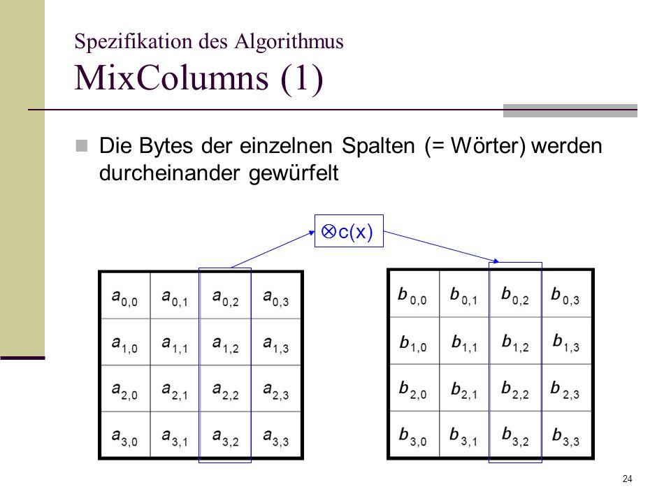 24 Spezifikation des Algorithmus MixColumns (1) Die Bytes der einzelnen Spalten (= Wörter) werden durcheinander gewürfelt c(x)