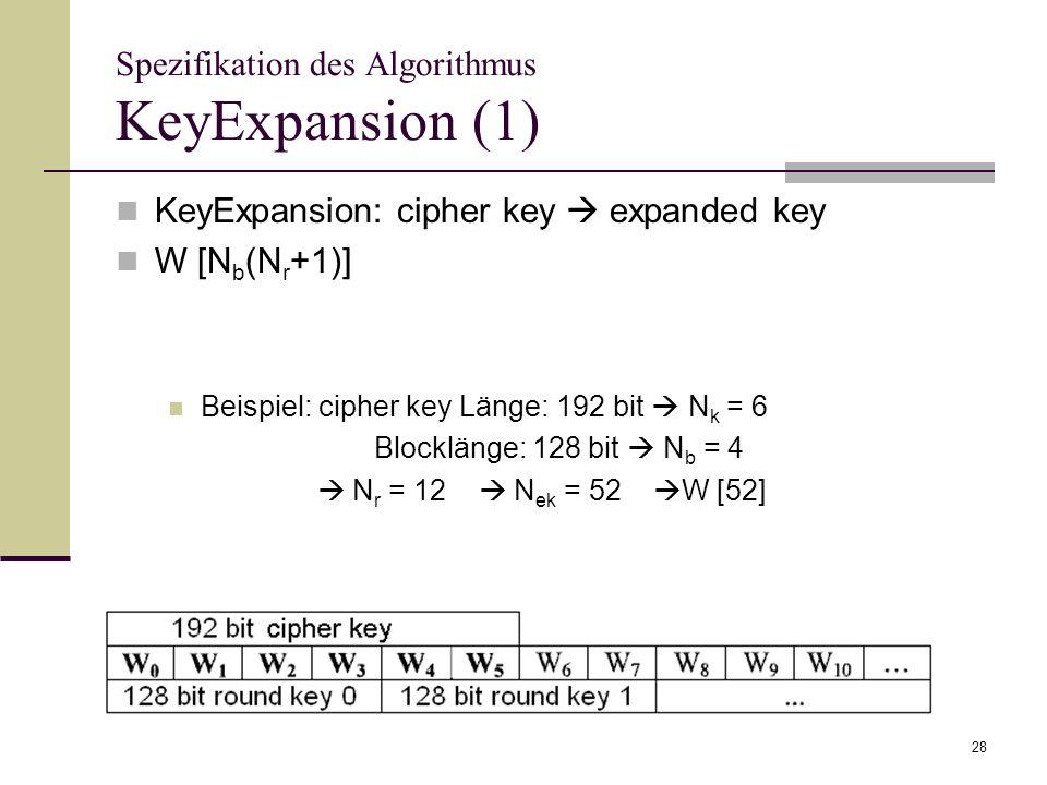 28 Spezifikation des Algorithmus KeyExpansion (1) KeyExpansion: cipher key expanded key W [N b (N r +1)] Beispiel: cipher key Länge: 192 bit N k = 6 B