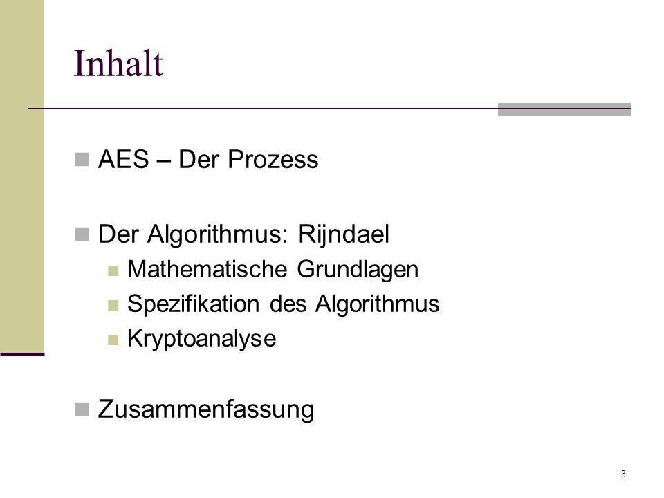 3 Inhalt AES – Der Prozess Der Algorithmus: Rijndael Mathematische Grundlagen Spezifikation des Algorithmus Kryptoanalyse Zusammenfassung