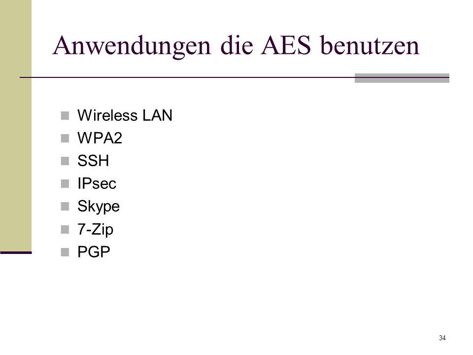 34 Anwendungen die AES benutzen Wireless LAN WPA2 SSH IPsec Skype 7-Zip PGP