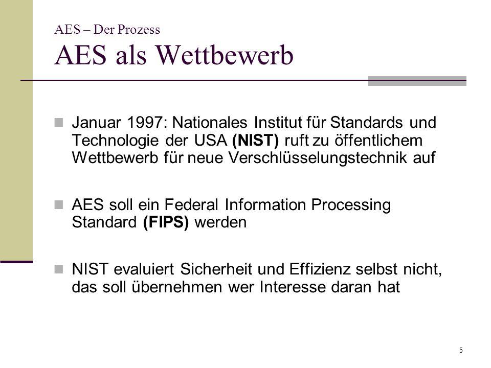 5 AES – Der Prozess AES als Wettbewerb Januar 1997: Nationales Institut für Standards und Technologie der USA (NIST) ruft zu öffentlichem Wettbewerb f