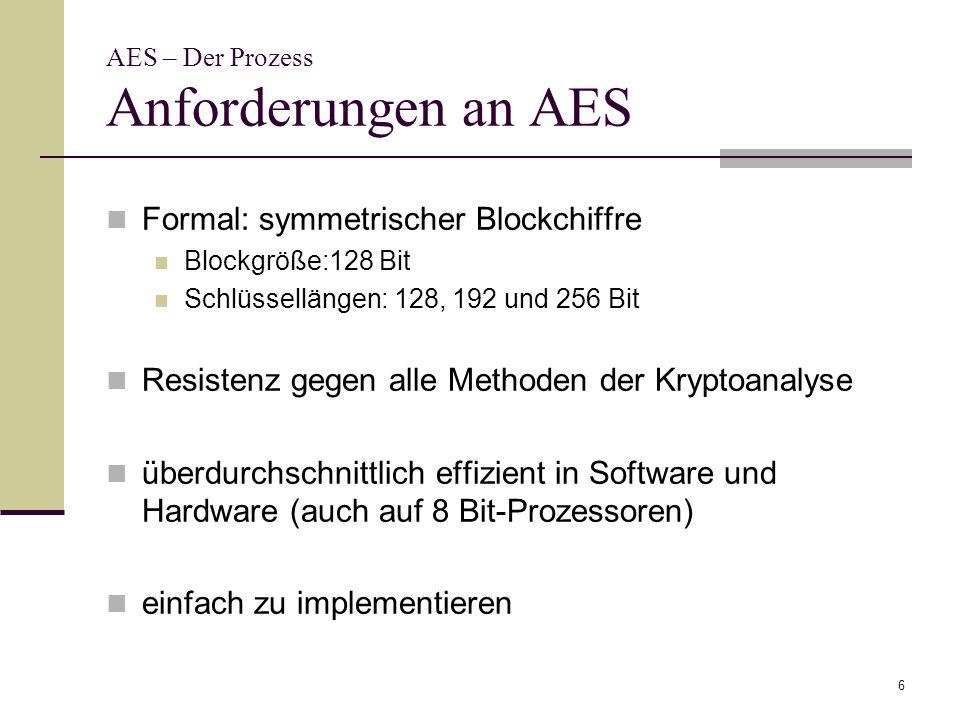 6 AES – Der Prozess Anforderungen an AES Formal: symmetrischer Blockchiffre Blockgröße:128 Bit Schlüssellängen: 128, 192 und 256 Bit Resistenz gegen a