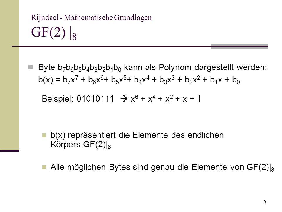 9 Rijndael - Mathematische Grundlagen GF(2) | 8 Byte b 7 b 6 b 5 b 4 b 3 b 2 b 1 b 0 kann als Polynom dargestellt werden: b(x) = b 7 x 7 + b 6 x 6 + b