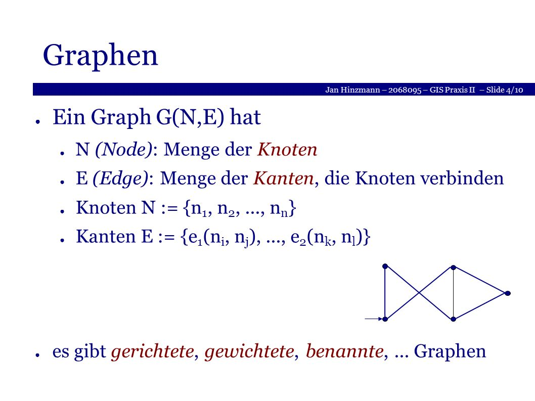 Jan Hinzmann – 2068095 – GIS Praxis II – Slide 4/10 Graphen Ein Graph G(N,E) hat N (Node): Menge der Knoten E (Edge): Menge der Kanten, die Knoten verbinden Knoten N := {n 1, n 2,..., n n } Kanten E := {e 1 (n i, n j ),..., e 2 (n k, n l )} es gibt gerichtete, gewichtete, benannte,...