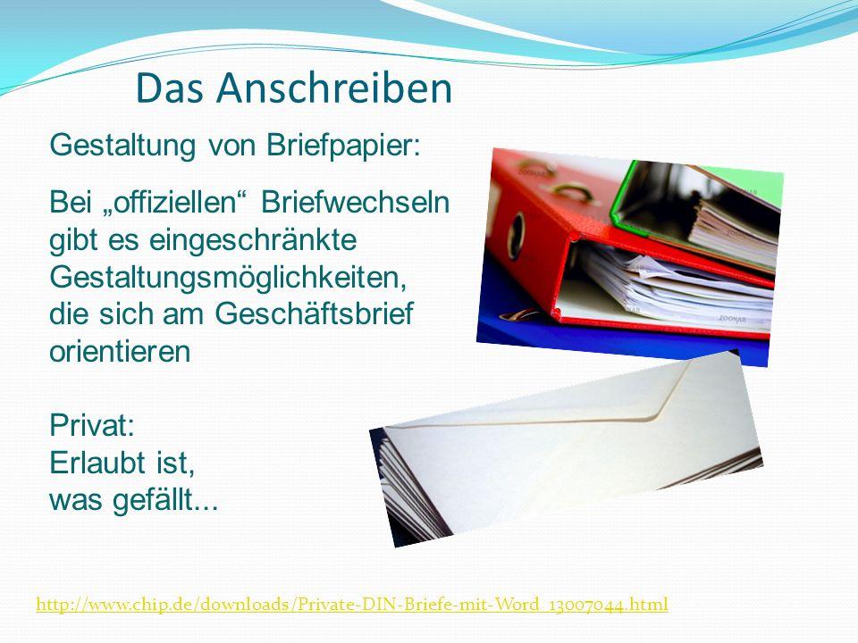 Das Anschreiben Gestaltung von Briefpapier: Bei offiziellen Briefwechseln gibt es eingeschränkte Gestaltungsmöglichkeiten, die sich am Geschäftsbrief