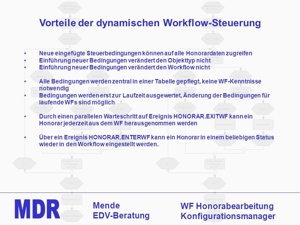 Mende EDV-Beratung WF Honorabearbeitung Konfigurationsmanager Vorteile der dynamischen Workflow-Steuerung Neue eingefügte Steuerbedingungen können auf