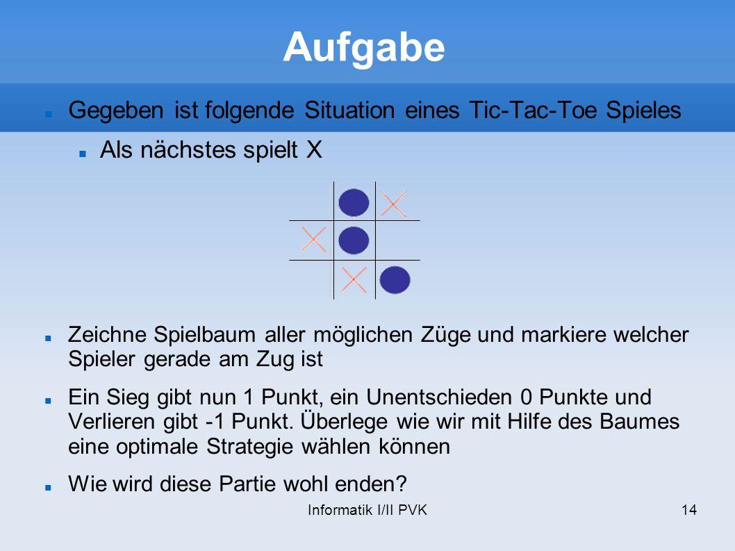 Informatik I/II PVK14 Aufgabe Gegeben ist folgende Situation eines Tic-Tac-Toe Spieles Als nächstes spielt X Zeichne Spielbaum aller möglichen Züge un