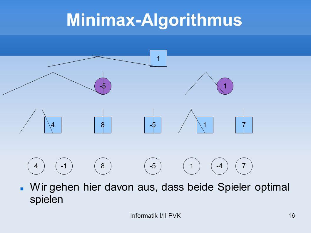 Informatik I/II PVK16 Minimax-Algorithmus 1 -51 48 17 48-51-47 Wir gehen hier davon aus, dass beide Spieler optimal spielen