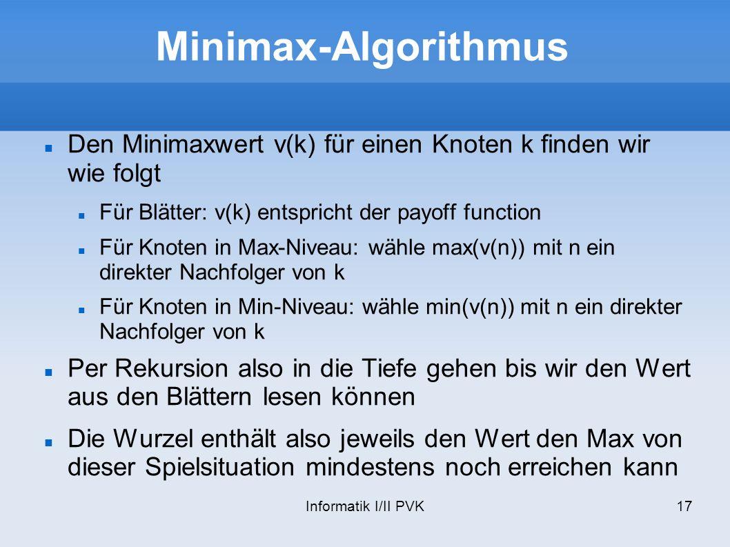 Informatik I/II PVK17 Minimax-Algorithmus Den Minimaxwert v(k) für einen Knoten k finden wir wie folgt Für Blätter: v(k) entspricht der payoff functio