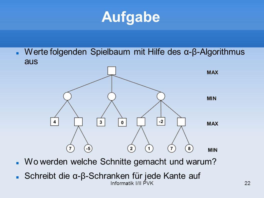 Informatik I/II PVK22 Aufgabe Werte folgenden Spielbaum mit Hilfe des α-β-Algorithmus aus Wo werden welche Schnitte gemacht und warum? Schreibt die α-