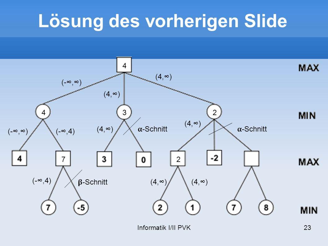 Informatik I/II PVK23 Lösung des vorherigen Slide (-,) 4 (-,4) -Schnitt 7 (4,) -Schnitt (4,) 3 2 2 -Schnitt 4