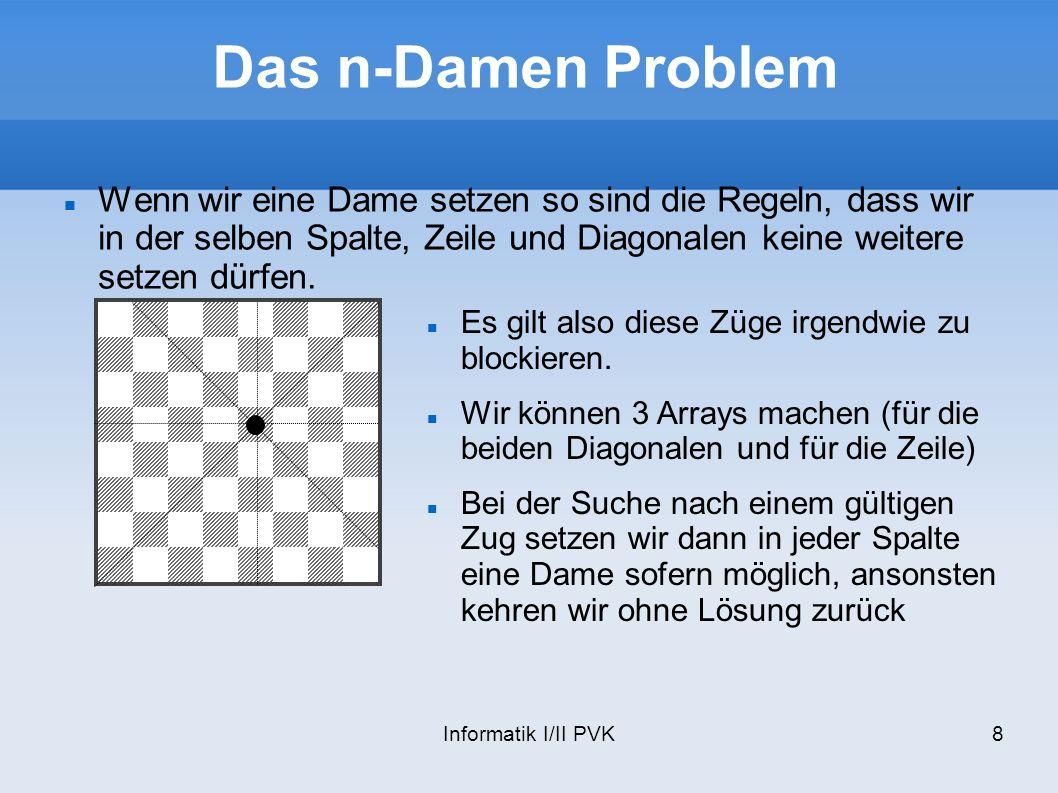 Informatik I/II PVK8 Das n-Damen Problem Wenn wir eine Dame setzen so sind die Regeln, dass wir in der selben Spalte, Zeile und Diagonalen keine weite