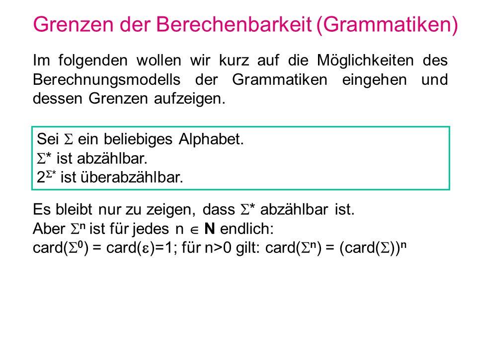 Grenzen der Berechenbarkeit (Grammatiken) Im folgenden wollen wir kurz auf die Möglichkeiten des Berechnungsmodells der Grammatiken eingehen und desse