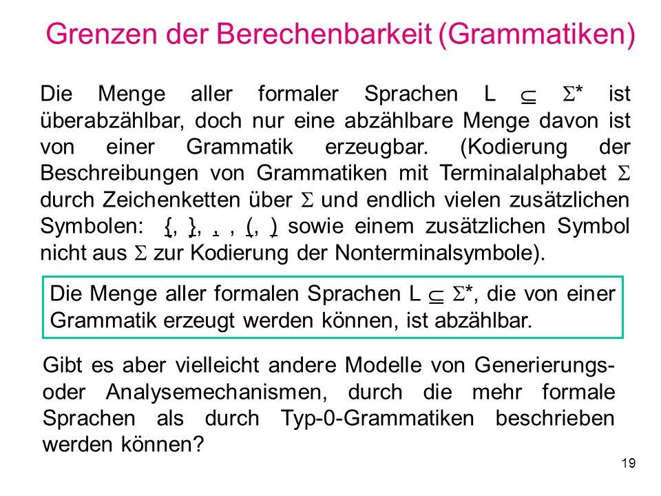 19 Grenzen der Berechenbarkeit (Grammatiken) Die Menge aller formaler Sprachen L * ist überabzählbar, doch nur eine abzählbare Menge davon ist von ein
