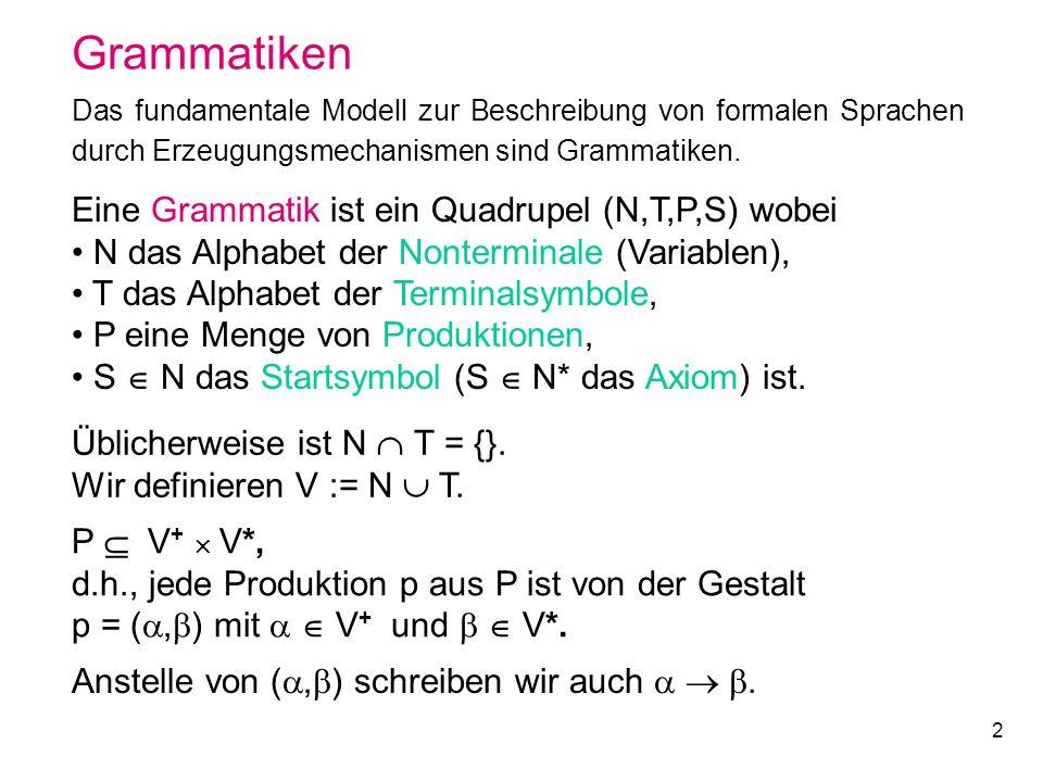 2 Grammatiken Das fundamentale Modell zur Beschreibung von formalen Sprachen durch Erzeugungsmechanismen sind Grammatiken. Eine Grammatik ist ein Quad