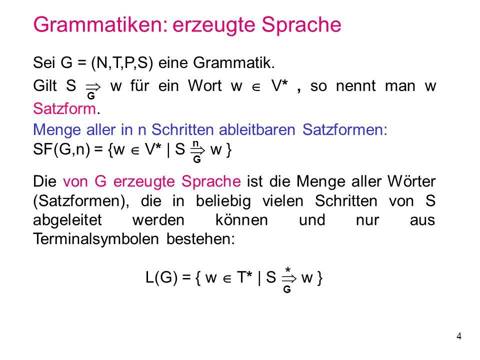 4 Grammatiken: erzeugte Sprache Sei G = (N,T,P,S) eine Grammatik. Gilt S w für ein Wort w V*, so nennt man w Satzform. Menge aller in n Schritten able