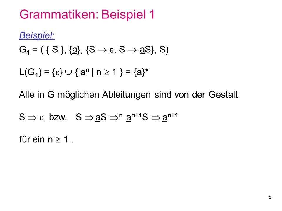 5 Grammatiken: Beispiel 1 Beispiel: G 1 = ( { S }, {a}, {S, S aS}, S) L(G 1 ) = { } { a n | n 1 } = {a}* Alle in G möglichen Ableitungen sind von der