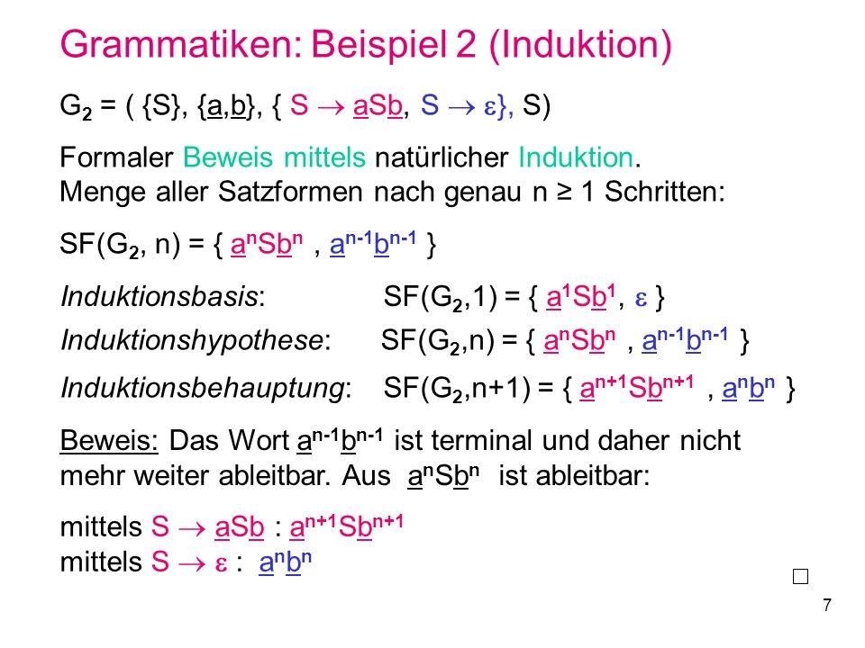 7 Grammatiken: Beispiel 2 (Induktion) G 2 = ( {S}, {a,b}, { S aSb, S }, S) Formaler Beweis mittels natürlicher Induktion. Menge aller Satzformen nach
