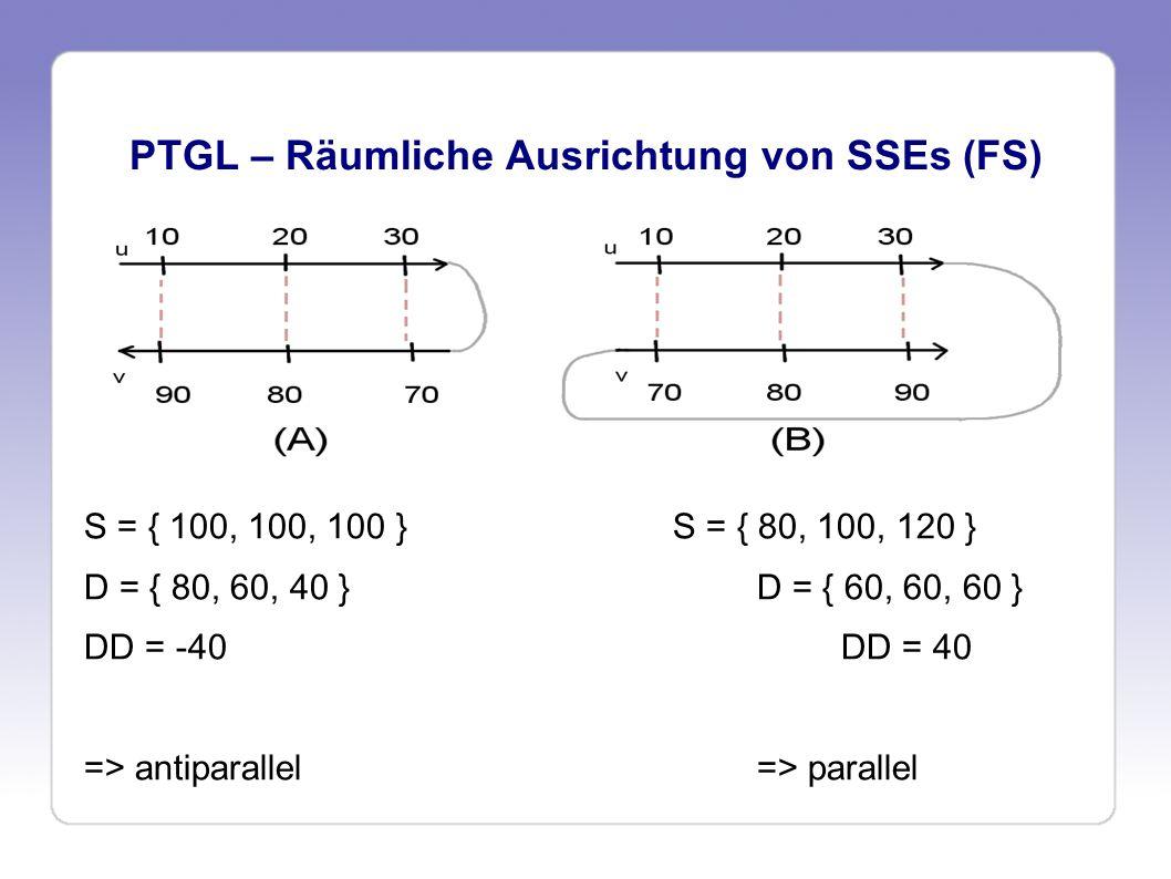 PTGL – Räumliche Ausrichtung von SSEs (FS) S = { 100, 100, 100 }S = { 80, 100, 120 } D = { 80, 60, 40 }D = { 60, 60, 60 } DD = -40DD = 40 => antiparal