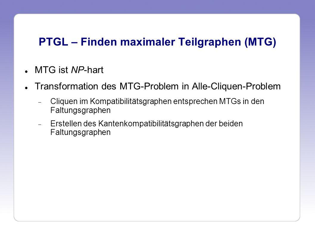 PTGL – Finden maximaler Teilgraphen (MTG) MTG ist NP-hart Transformation des MTG-Problem in Alle-Cliquen-Problem Cliquen im Kompatibilitätsgraphen ent