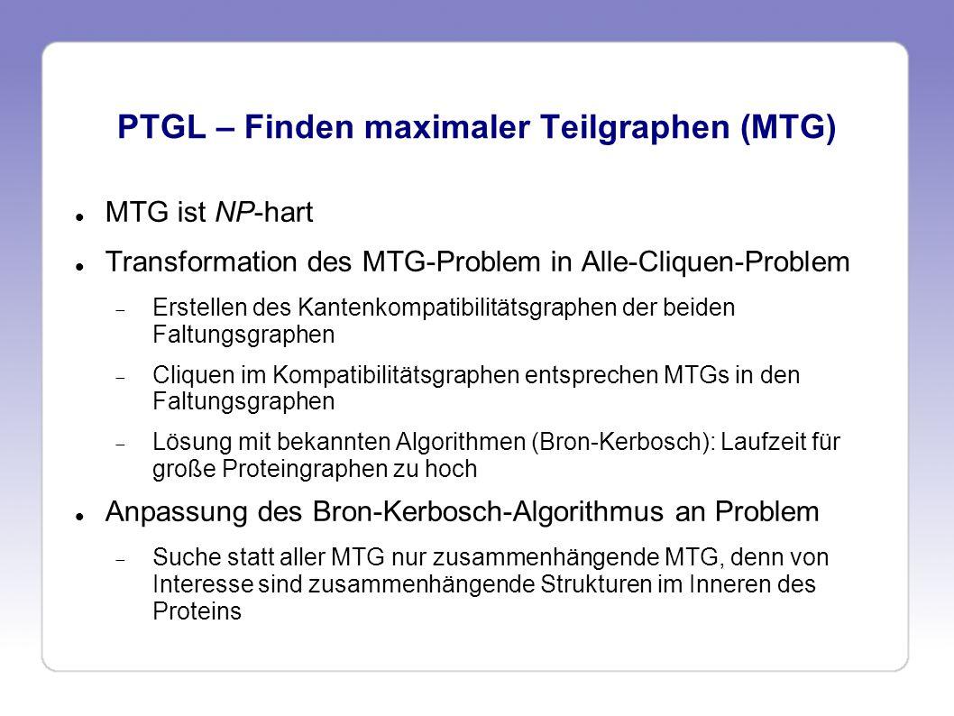 PTGL – Finden maximaler Teilgraphen (MTG) MTG ist NP-hart Transformation des MTG-Problem in Alle-Cliquen-Problem Erstellen des Kantenkompatibilitätsgr
