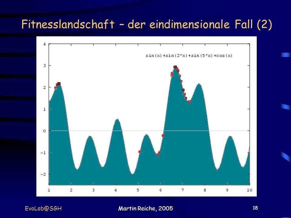 18 EvoLab@SGHMartin Reiche, 2005 Fitnesslandschaft – der eindimensionale Fall (2)