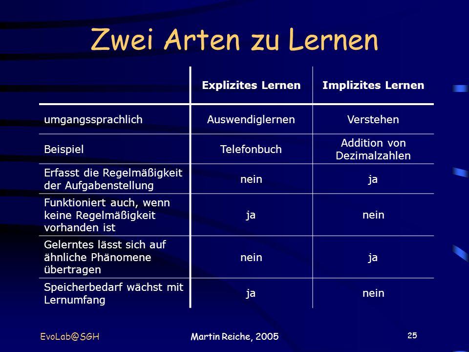 25 EvoLab@SGHMartin Reiche, 2005 Zwei Arten zu Lernen Explizites LernenImplizites Lernen umgangssprachlichAuswendiglernenVerstehen BeispielTelefonbuch