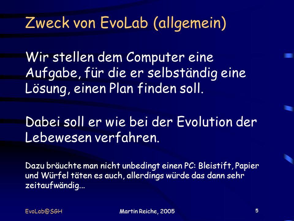 5 EvoLab@SGHMartin Reiche, 2005 Zweck von EvoLab (allgemein) Wir stellen dem Computer eine Aufgabe, für die er selbständig eine Lösung, einen Plan fin