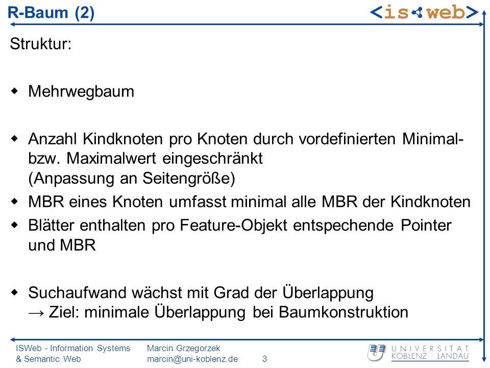 ISWeb - Information Systems & Semantic Web Marcin Grzegorzek marcin@uni-koblenz.de4 R-Baum graphisch