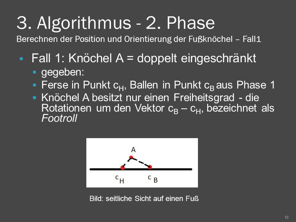 3. Algorithmus - 2. Phase Berechnen der Position und Orientierung der Fußknöchel – Fall1 Fall 1: Knöchel A = doppelt eingeschränkt gegeben: Ferse in P