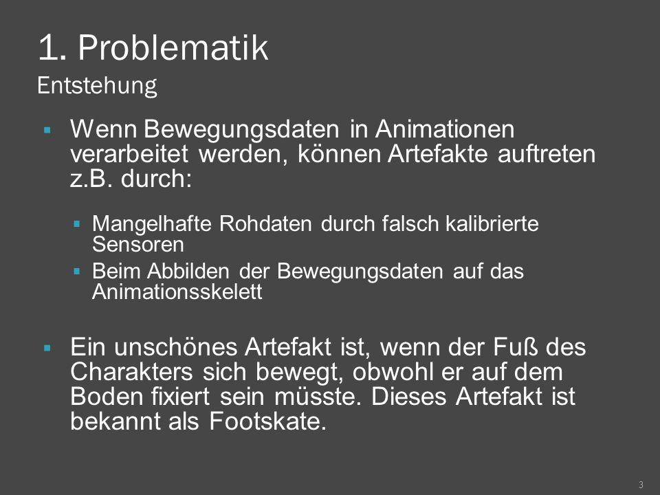 1. Problematik Entstehung Wenn Bewegungsdaten in Animationen verarbeitet werden, können Artefakte auftreten z.B. durch: Mangelhafte Rohdaten durch fal