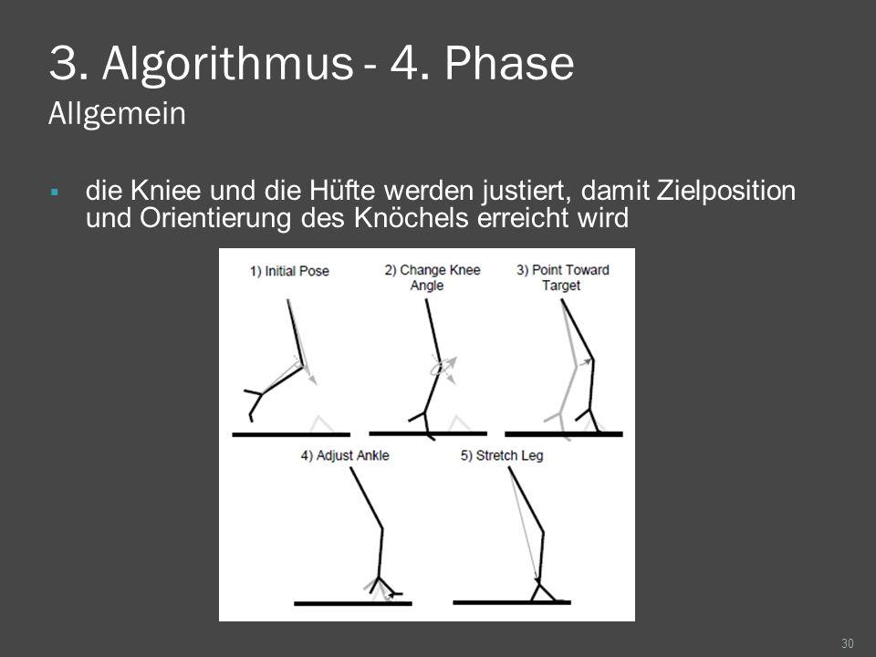 3. Algorithmus - 4. Phase Allgemein die Kniee und die Hüfte werden justiert, damit Zielposition und Orientierung des Knöchels erreicht wird 30