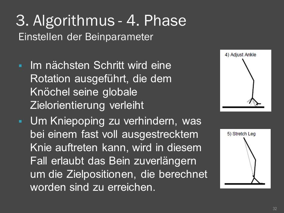 3. Algorithmus - 4. Phase Einstellen der Beinparameter Im nächsten Schritt wird eine Rotation ausgeführt, die dem Knöchel seine globale Zielorientieru