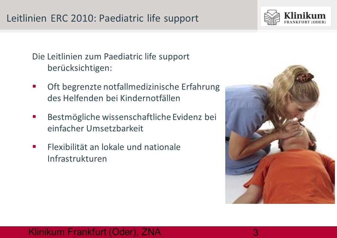 14 Klinikum Frankfurt (Oder), ZNA Defibrillation AED bei > 1 Jahr sicher und erfolgreich Kinder- AED und Pads, sonst auch im Erwachsenenmodus Nur kurzzeitige HDM- Unterbrechung: Einschockstrategie 4 J / kgKG alle 2 Minuten mono- oder biphasisch Erweiterte Reanimationsmaßnahmen: C