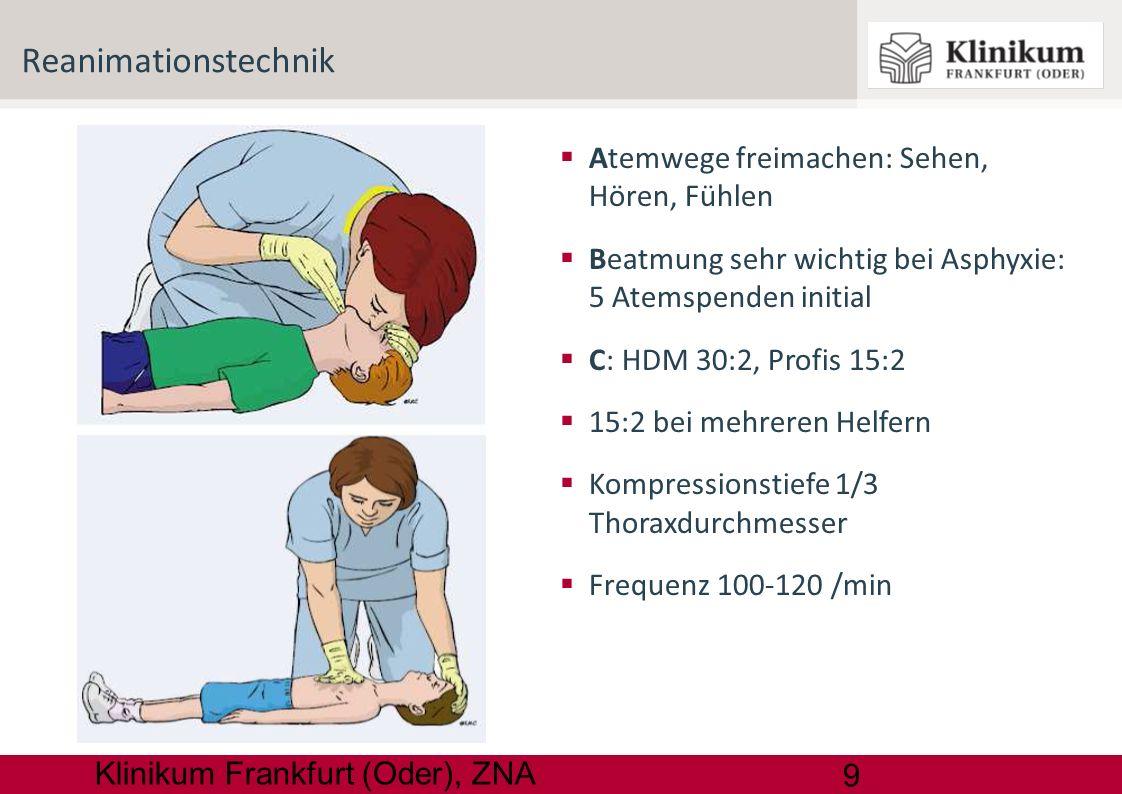 9 Klinikum Frankfurt (Oder), ZNA Atemwege freimachen: Sehen, Hören, Fühlen Beatmung sehr wichtig bei Asphyxie: 5 Atemspenden initial C: HDM 30:2, Prof