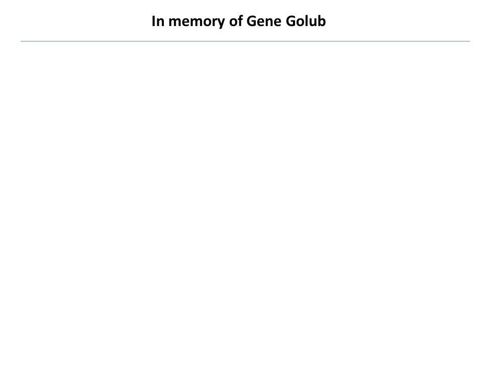 In memory of Gene Golub