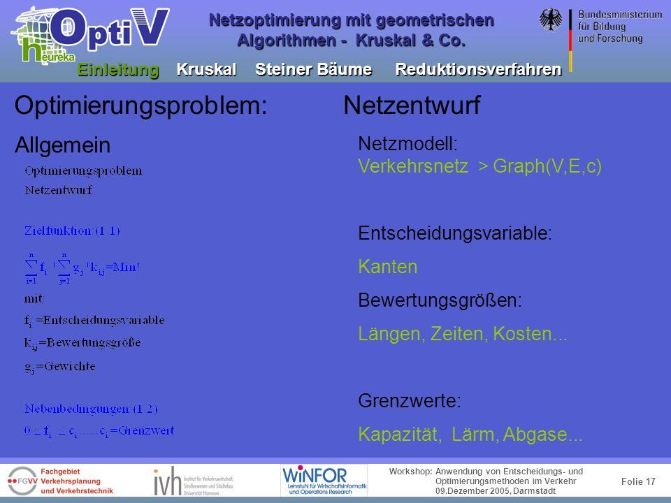 Folie 16 Workshop: Anwendung von Entscheidungs- und Optimierungsmethoden im Verkehr 09.Dezember 2005, Darmstadt Netzoptimierung mit geometrischen Algo