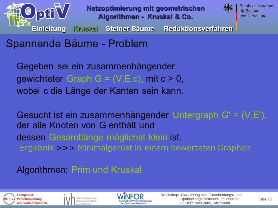 Folie 17 Workshop: Anwendung von Entscheidungs- und Optimierungsmethoden im Verkehr 09.Dezember 2005, Darmstadt Netzoptimierung mit geometrischen Algo