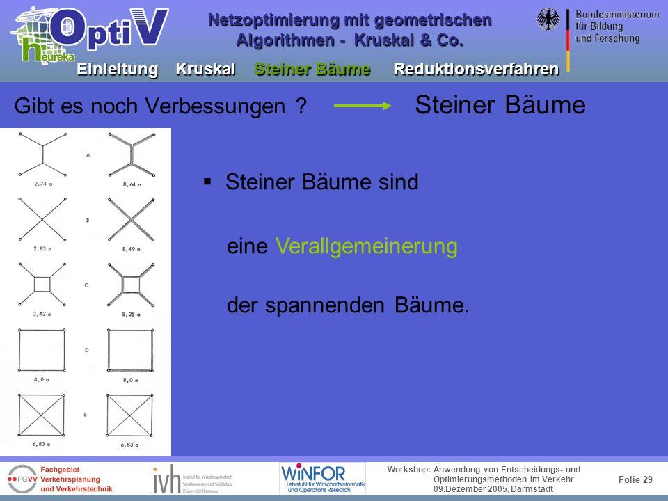 Folie 28 Workshop: Anwendung von Entscheidungs- und Optimierungsmethoden im Verkehr 09.Dezember 2005, Darmstadt Netzoptimierung mit geometrischen Algo