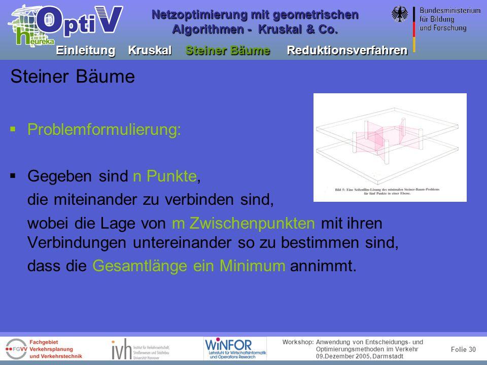 Folie 29 Workshop: Anwendung von Entscheidungs- und Optimierungsmethoden im Verkehr 09.Dezember 2005, Darmstadt Netzoptimierung mit geometrischen Algo