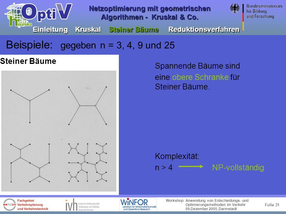 Folie 30 Workshop: Anwendung von Entscheidungs- und Optimierungsmethoden im Verkehr 09.Dezember 2005, Darmstadt Netzoptimierung mit geometrischen Algo