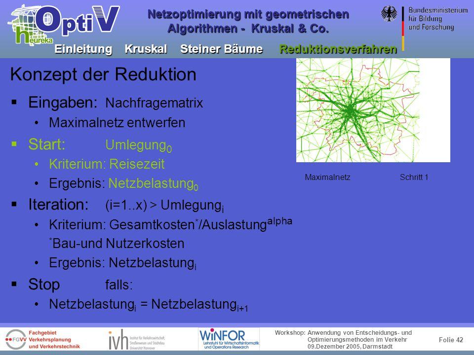 Folie 41 Workshop: Anwendung von Entscheidungs- und Optimierungsmethoden im Verkehr 09.Dezember 2005, Darmstadt Netzoptimierung mit geometrischen Algo