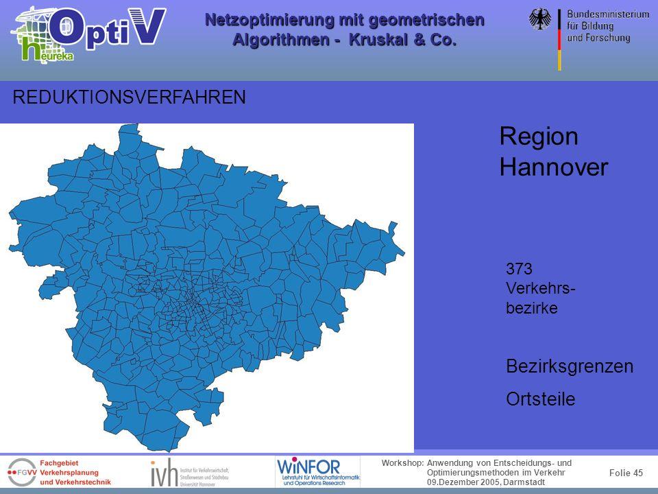 Folie 44 Workshop: Anwendung von Entscheidungs- und Optimierungsmethoden im Verkehr 09.Dezember 2005, Darmstadt Netzoptimierung mit geometrischen Algo
