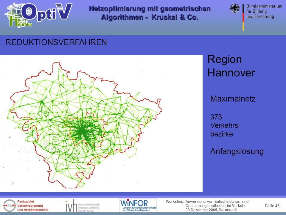 Folie 45 Workshop: Anwendung von Entscheidungs- und Optimierungsmethoden im Verkehr 09.Dezember 2005, Darmstadt Netzoptimierung mit geometrischen Algo