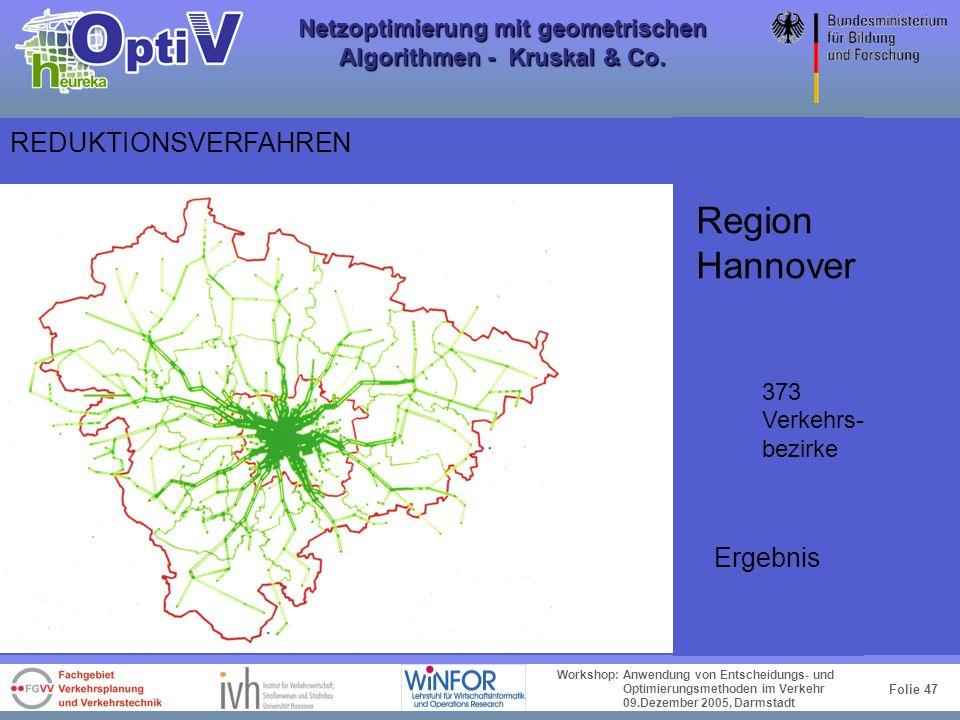 Folie 46 Workshop: Anwendung von Entscheidungs- und Optimierungsmethoden im Verkehr 09.Dezember 2005, Darmstadt Netzoptimierung mit geometrischen Algo
