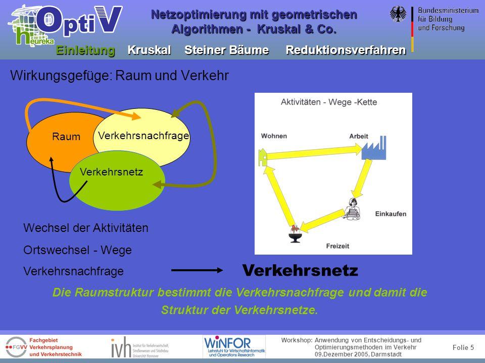 Folie 4 Workshop: Anwendung von Entscheidungs- und Optimierungsmethoden im Verkehr 09.Dezember 2005, Darmstadt Netzoptimierung mit geometrischen Algor