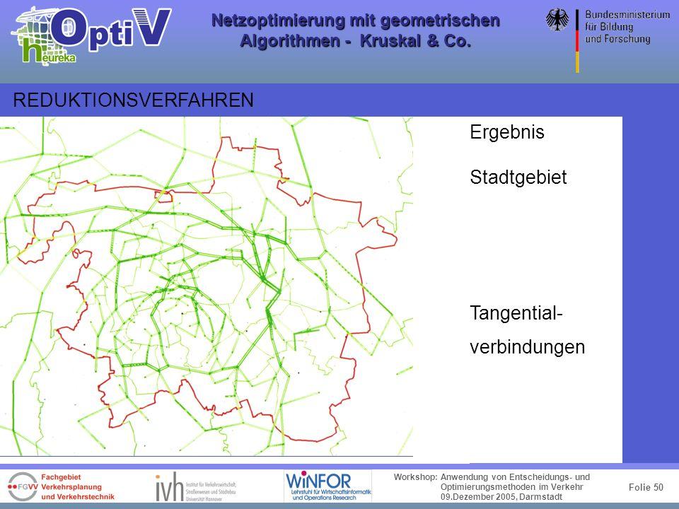 Folie 49 Workshop: Anwendung von Entscheidungs- und Optimierungsmethoden im Verkehr 09.Dezember 2005, Darmstadt Netzoptimierung mit geometrischen Algo