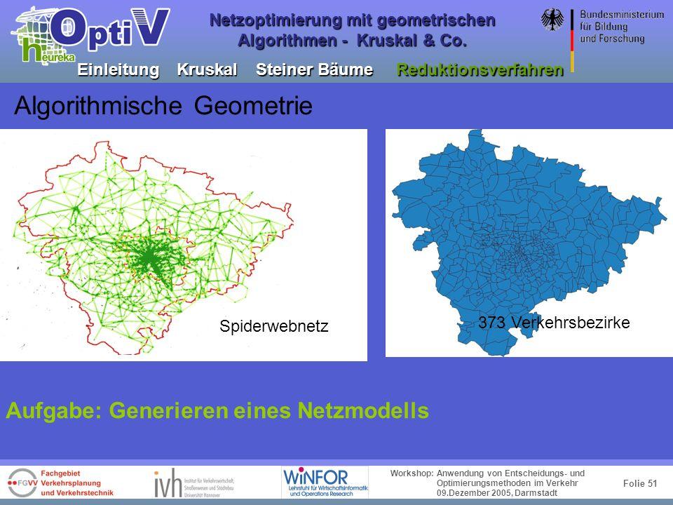 Folie 50 Workshop: Anwendung von Entscheidungs- und Optimierungsmethoden im Verkehr 09.Dezember 2005, Darmstadt Netzoptimierung mit geometrischen Algo