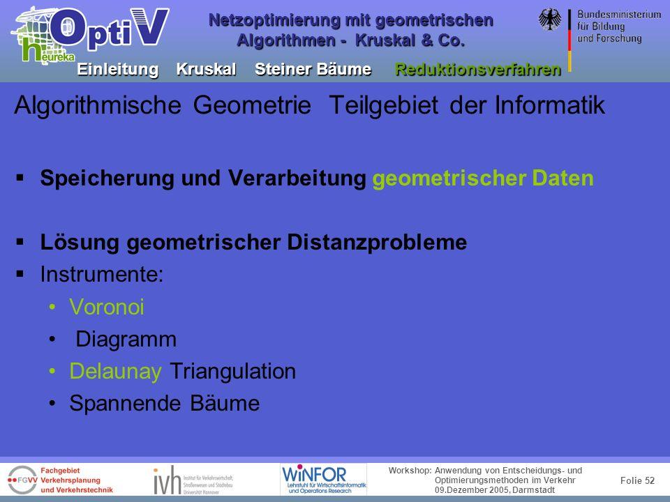 Folie 51 Workshop: Anwendung von Entscheidungs- und Optimierungsmethoden im Verkehr 09.Dezember 2005, Darmstadt Netzoptimierung mit geometrischen Algo